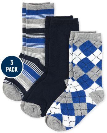 Boys Argyle And Striped Crew Socks 3-Pack