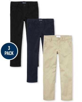 Girls Uniform Stretch Skinny Chino Pants 3-Pack