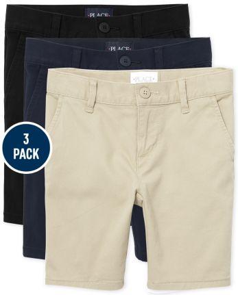 Girls Uniform Stretch Chino Shorts 3-Pack