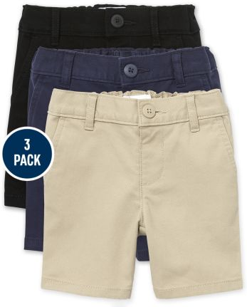 Toddler Girls Uniform Stretch Chino Shorts 3-Pack