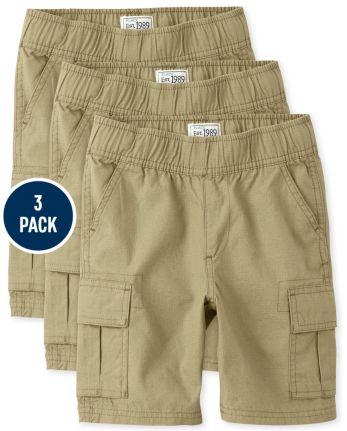 Boys Uniform Pull On Cargo Shorts 3-Pack