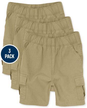 Toddler Boys Uniform Pull On Cargo Shorts 3-Pack