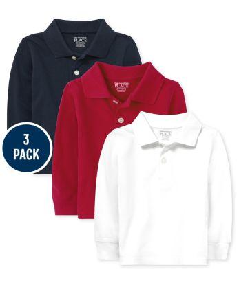 Toddler Boys Uniform Long Sleeve Pique Polo 3-Pack