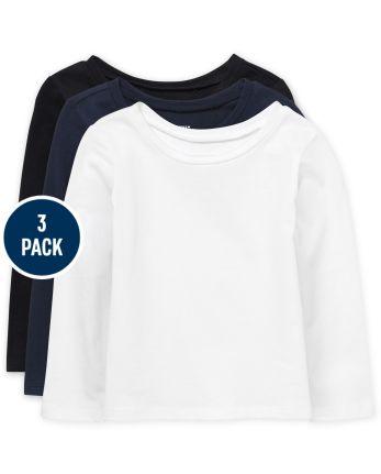 Paquete de 3 camisetas básicas para niñas pequeñas