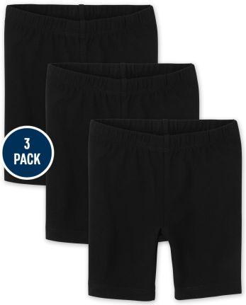 Paquete de 3 pantalones cortos ciclistas para niñas pequeñas