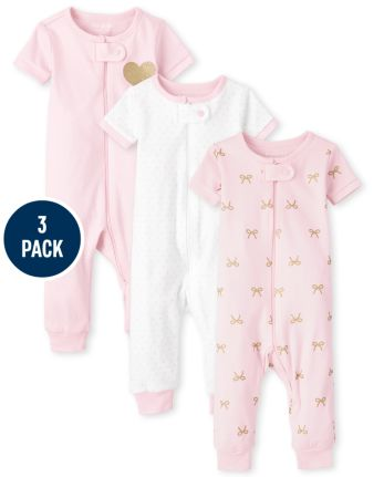 Baby And Toddler Girls Print Snug Fit Cotton One Piece Pajamas 3-Pack