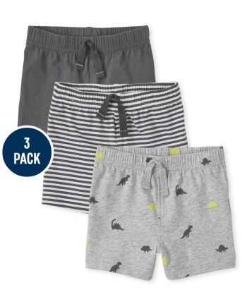 Baby Boys Dino Striped Shorts 3-Pack