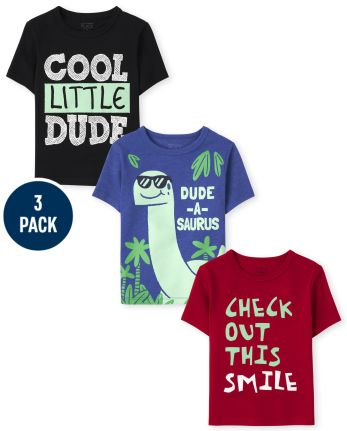 Toddler Boys Cute Dino Graphic Tee 3-Pack