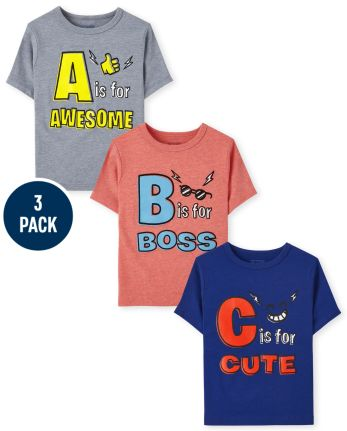 Toddler Boys ABC Graphic Tee 3-Pack