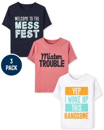 Toddler Boys Humor Graphic Tee 3-Pack