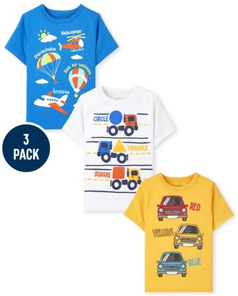 Toddler Boys Transportation Graphic Tee 3-Pack