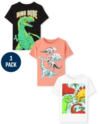 Toddler Boys Dino Graphic Tee 3-Pack