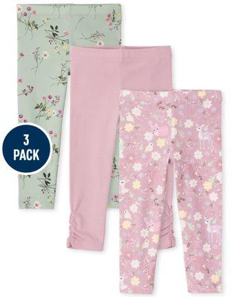 Paquete de 3 leggings estampados para niñas pequeñas