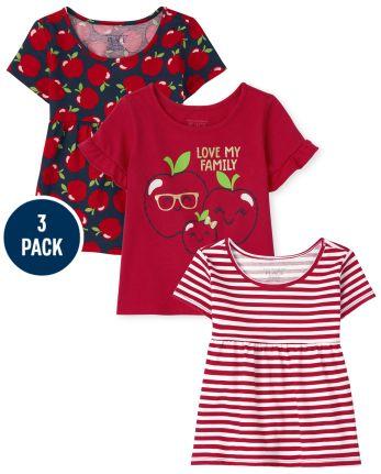 Toddler Girls Apple Top 3-Pack