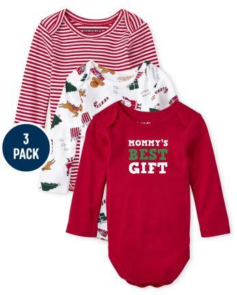 Unisex Baby Christmas Bodysuit 3-Pack