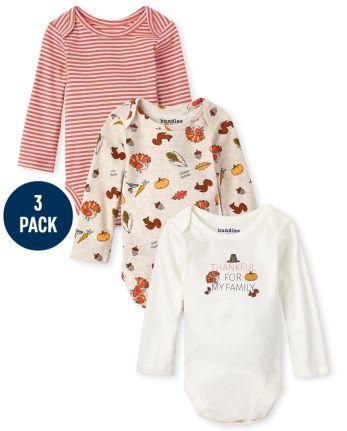 Unisex Baby Thanksgiving Bodysuit 3-Pack