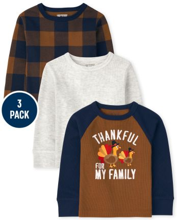 Toddler Boys Harvest Thermal Top 3-Pack