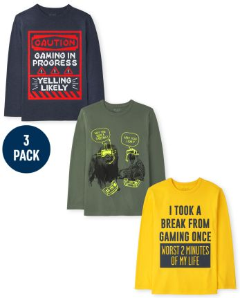 Boys Video Game Humor Graphic Tee 3-Pack