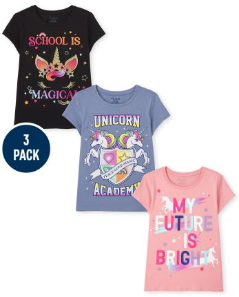 Girls Unicorn School Graphic Tee 3-Pack
