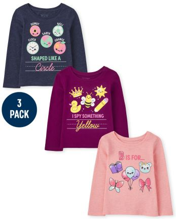 Toddler Girls School Graphic Tee 3-Pack