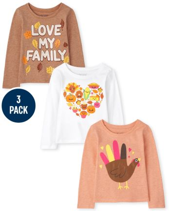 Toddler Girls Fall Graphic Tee 3-Pack