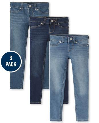 Girls Stretch Knit Denim Legging Jeans 3-Pack
