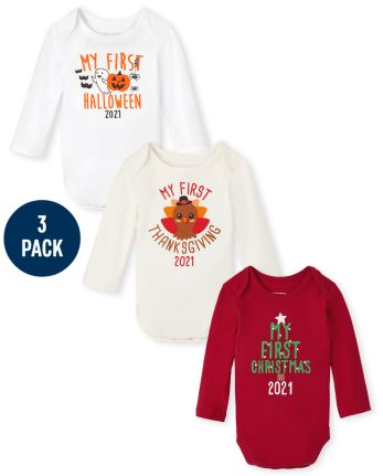 Unisex Baby Holiday Graphic Bodysuit 3-Pack