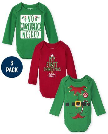 Unisex Baby Christmas Graphic Bodysuit 3-Pack