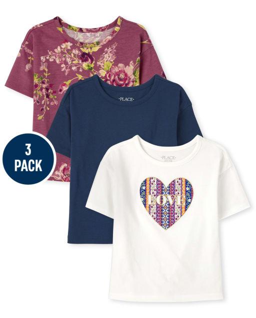 GULLIVER Girls Top Short Sleeve T-Shirt Soft Blouse Casual Pink 3-8 Years Kids Cotton Summer