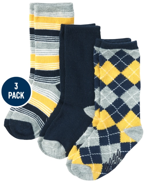 Baby And Toddler Boys Argyle And Striped Crew Socks 3-Pack