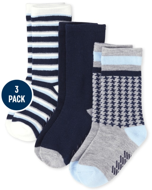 Baby And Toddler Boys Houndstooth And Striped Crew Socks 3-Pack