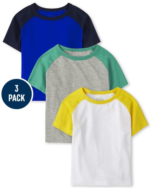 Baby And Toddler Boys Short Sleeve Raglan Top 3-Pack