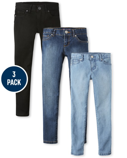 Girls Basic Stretch Super Skinny Jeans 3-Pack