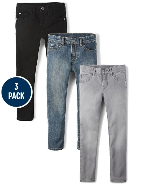 Paquete de 3 jeans ajustados básicos para niño