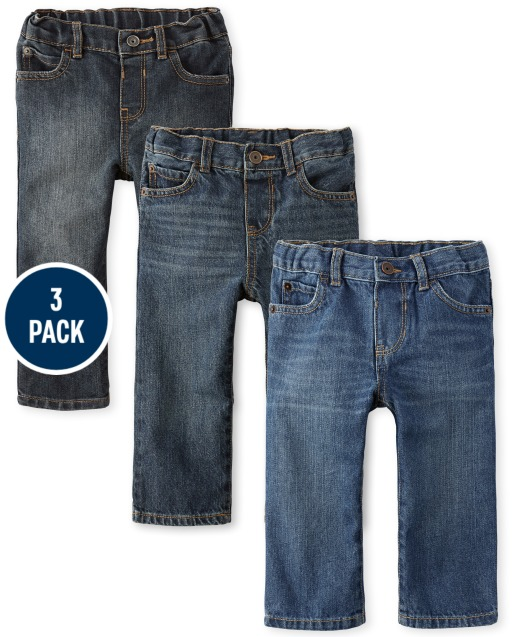 Baby And Toddler Boys Basic Straight Jeans 3-Pack