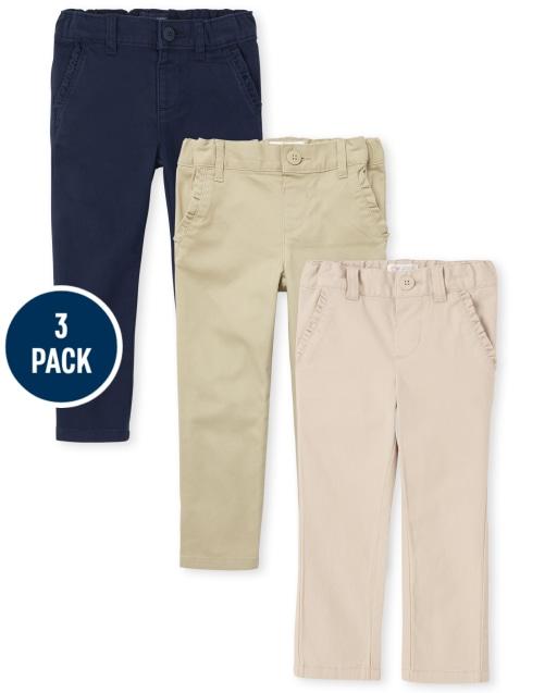 Toddler Girls Uniform Woven Stretch Skinny Chino Pants 3-Pack