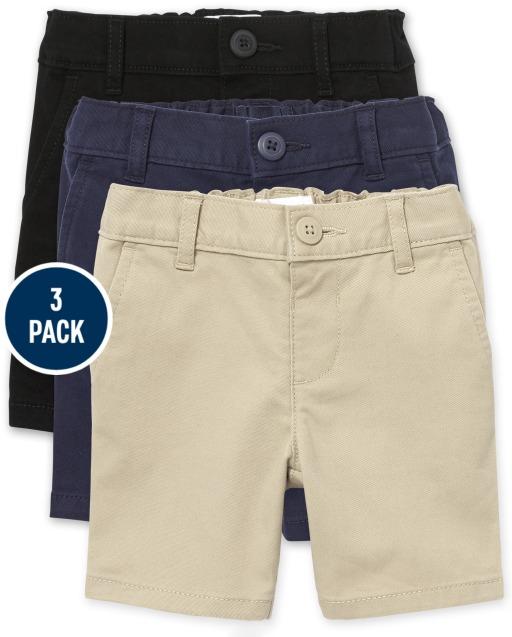 Toddler Girls Uniform Woven Stretch Chino Shorts 3-Pack