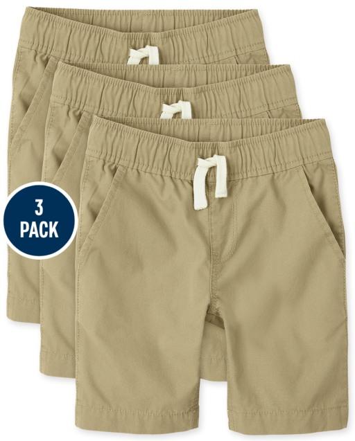 Boys Uniform Woven Pull On Jogger Shorts 3-Pack