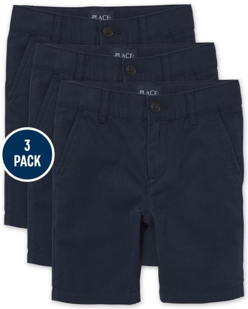 Paquete de 3 pantalones cortos chinos elásticos tejidos de uniforme para niños