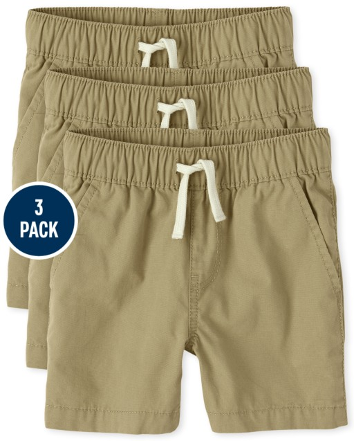 Toddler Boys Woven Pull On Jogger Shorts 3-Pack