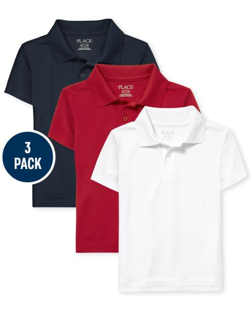 Paquete de 3 polos de rendimiento de manga corta de uniforme para niños