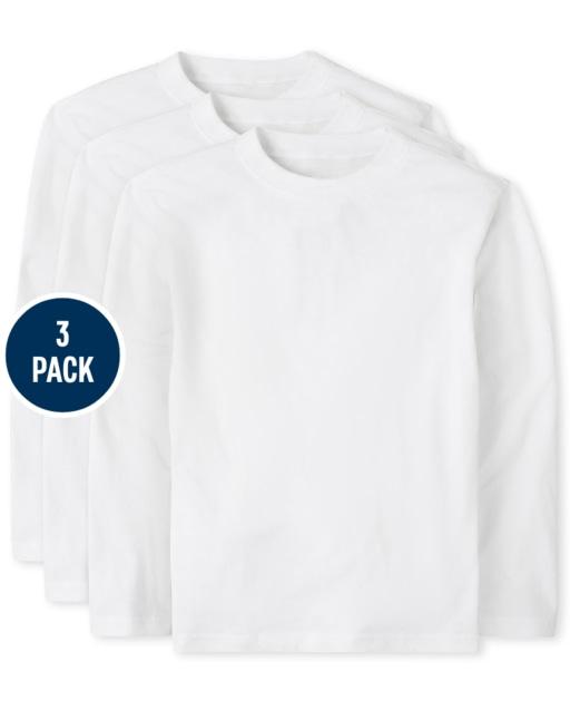 Paquete de 3 camisetas básicas de manga larga para bebés y niños pequeños