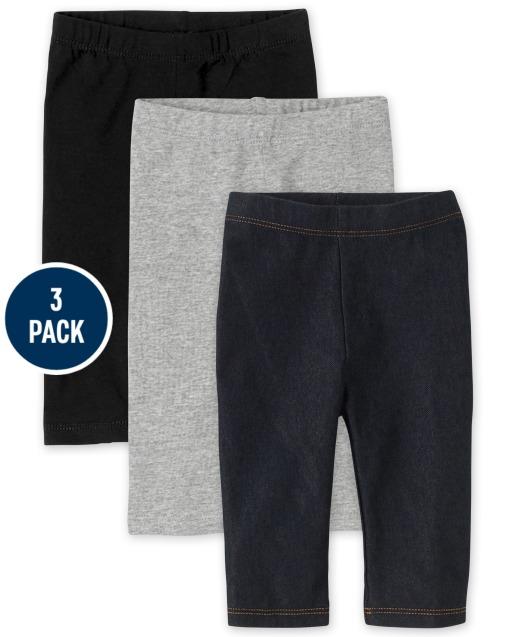 Toddler Girls Knit Capri Leggings 3-Pack