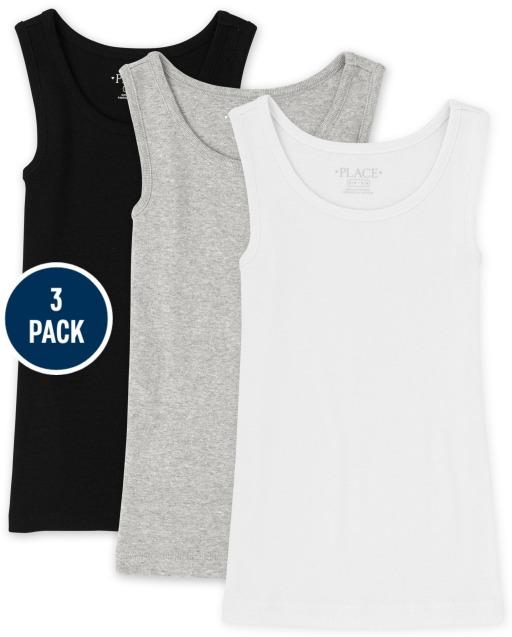 Pack de 3 camisetas sin mangas acanaladas sin mangas para niñas