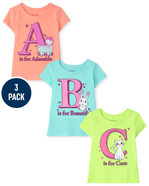 Toddler Girls Short Sleeve ABC Graphic Tee 3-Pack