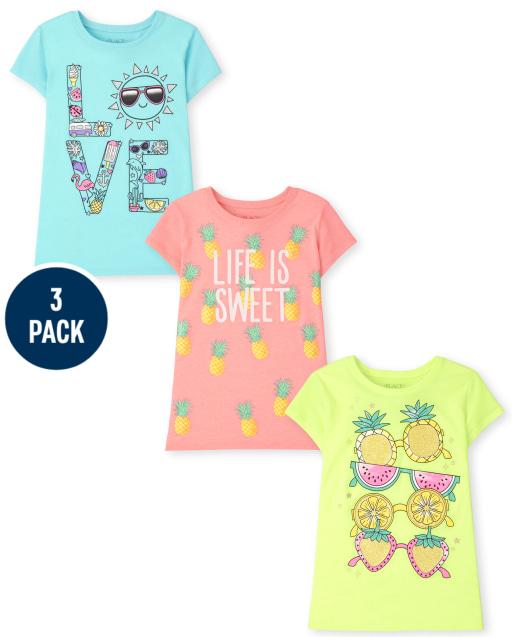Girls Short Sleeve Summer Graphic Tee 3-Pack