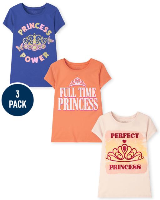 Girls Short Sleeve Princess Graphic Tee 3-Pack
