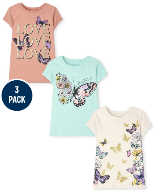 Girls Short Sleeve Butterfly Graphic Tee 3-Pack