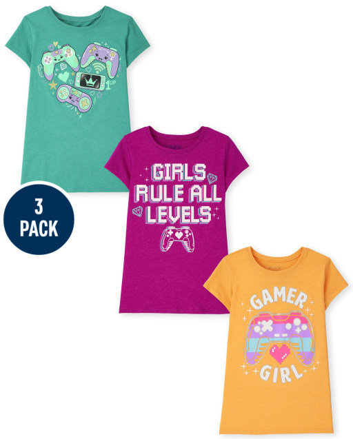 Girls Short Sleeve Video Game Graphic Tee 3-Pack
