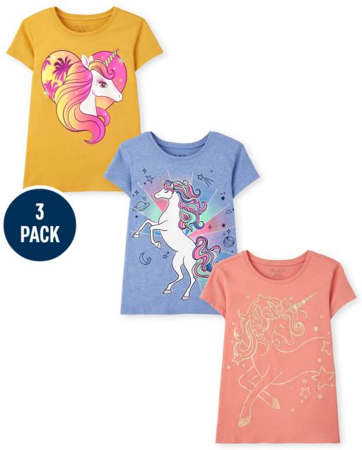 Girls Short Sleeve Unicorn Graphic Tee 3-Pack
